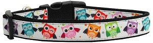 Bright Owls Nylon Ribbon Dog Collar Large